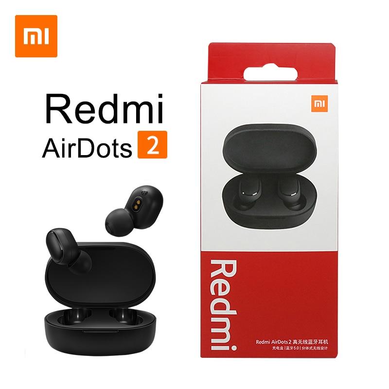 Original Xiaomi Redmi Airdots 2 TWS Earphone True Wireless Bluetooth 5.0 Stereo Bass With Mic Handsfree Earbuds AI Control