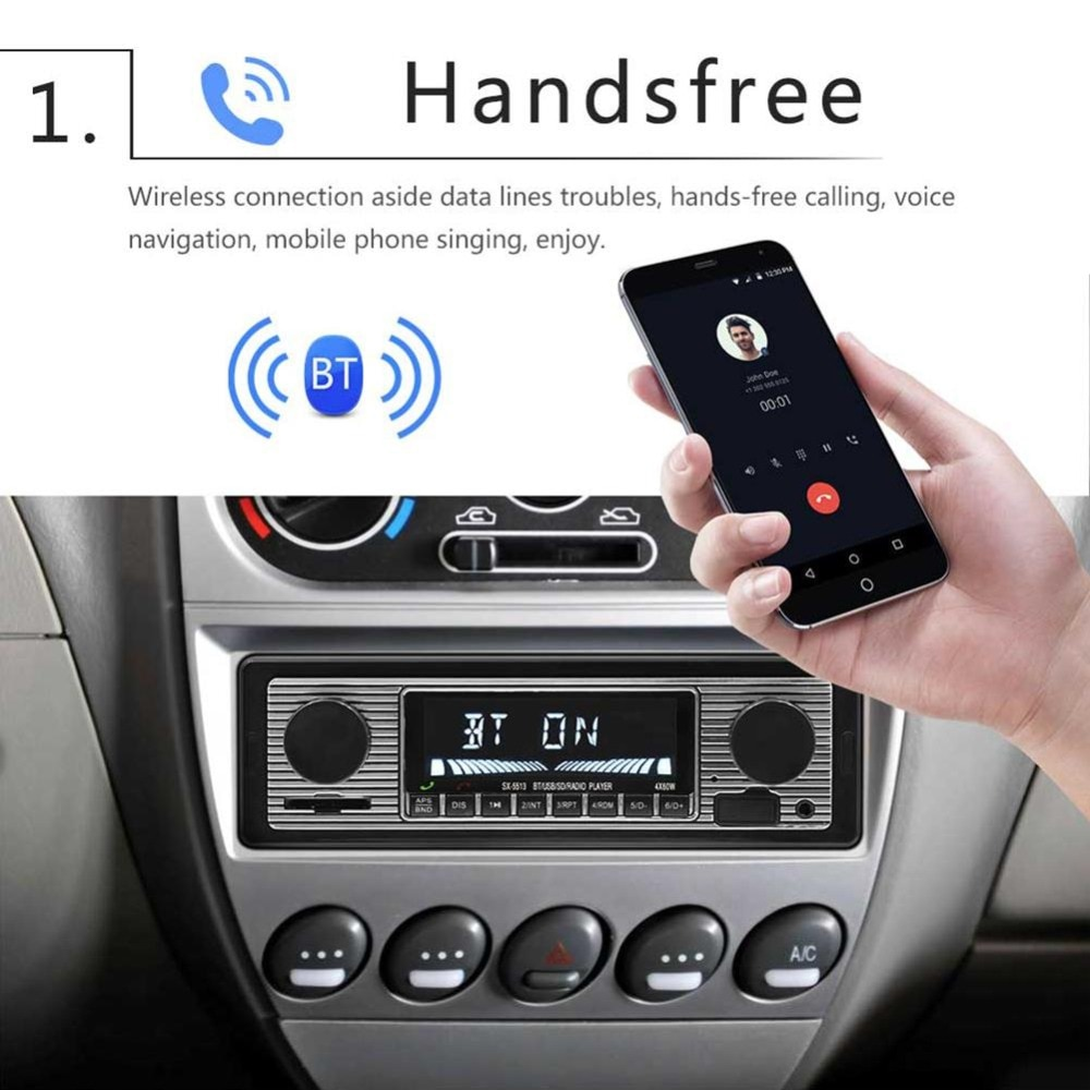 Auto Car Radio Bluetooth Vintage Wireless MP3 Multimedia Player USB Classic Stereo Audio Player Car Electric car radio screen enlarge