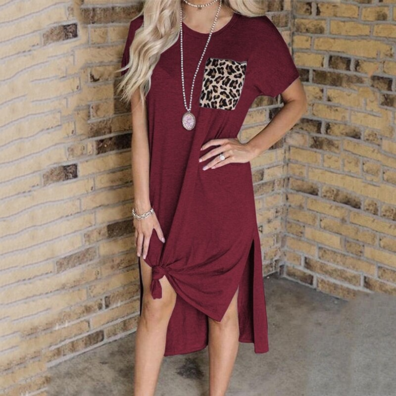 Women Leopard Printed Dress Pocket Summer Fashion Vintage Casual Loose Short Sleeve Split Female Long Party Plus Size Dresses autumn summer new women shirt dress long sleeved female dresses slim fashion party office lady sundress plus size casual rob