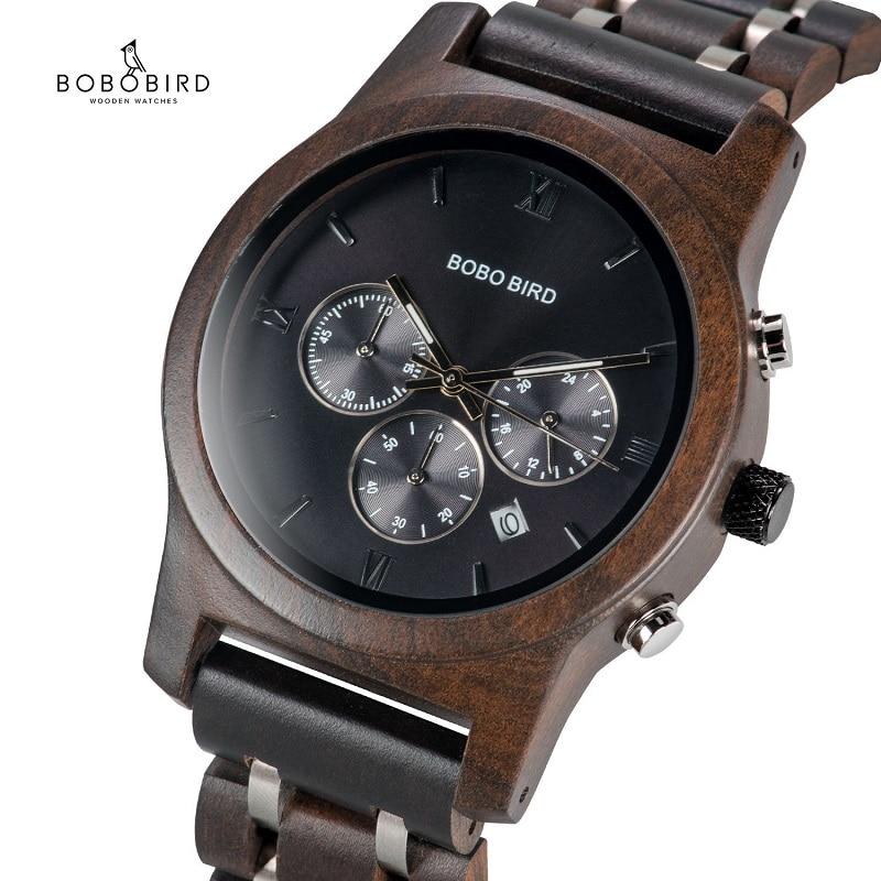 BOBO BIRD relogio masculino hombres reloj cronógrafo reloj de pulsera de Metal militar de madera reloj de lujo regalo a él caja B-P19