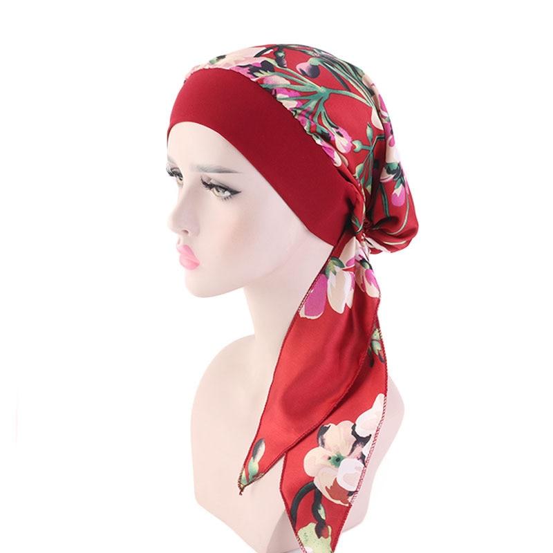 Фото - Fashion Muslim Women Printed Silk Turban Caps Islamic Hijab Long Tail Muslim Headscarf Bonnet Ladies Hair Accessories Chemo Cap new cotton twist women turban caps muslim printed hijab bonnet islamic african wrap indian hat ladies chemo cap bandanas