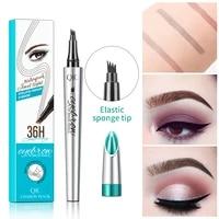 4 fork tip liquid tattoo eyebrow pencil waterproof long lasting professional makeup fine sketch eye brow pen cosmetics 3 colors