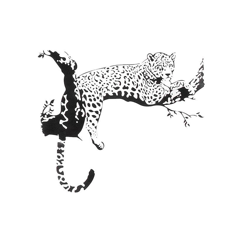 ¡Promoción! Gran arte Animal leopardo extraíble habitación Adhesivo de pared de Casa etiqueta Mural decoración, negro, tamaño 90x60 cm (tamaño terminado