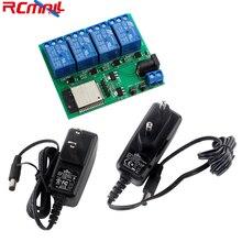 ESP32S 4 Kanal Wifi Bluetooth Relais Modul IOT Telefon APP Control DC6V 0,6 EINE 600mA Power Adapter US/EU stecker