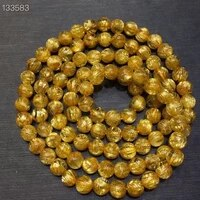 natural gold rutilated quartz clear round beads bracelet 5 2mm women 3 laps fashion from brazil wealthy stone aaaaaaa