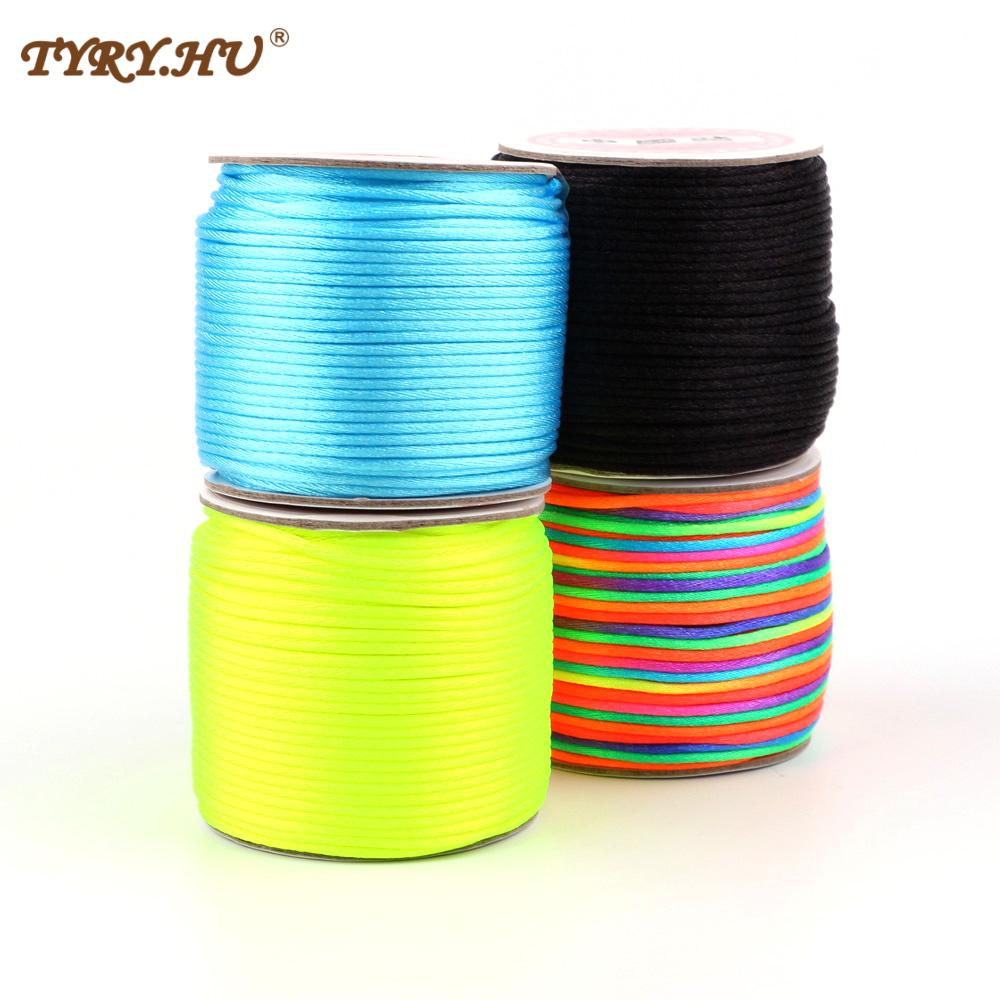 45m roll Soft Satin Nylon Cord Solid Rope 2mm Make Pacifier Chain Necklace Cord Baby DIY Making Tool