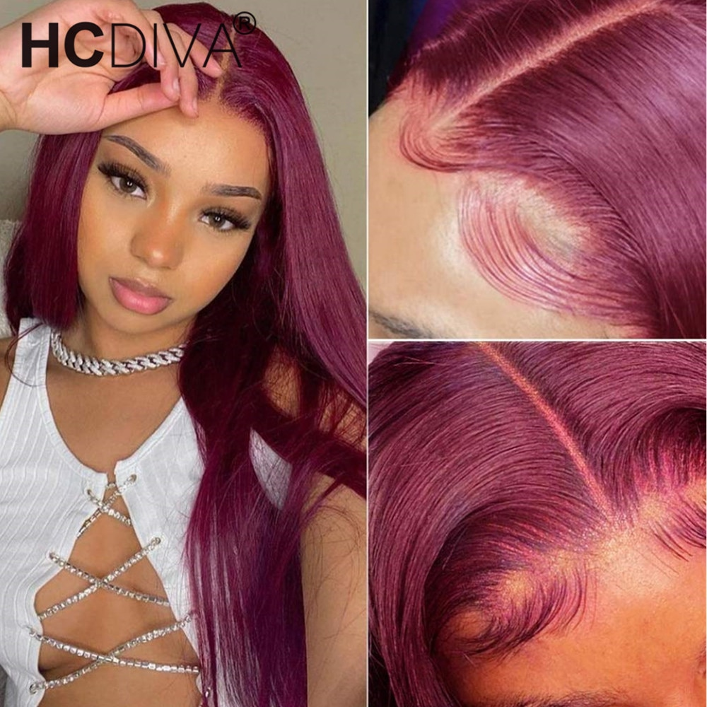 Burgundy Lace Front Wig 4x4 Closure Wig Bone Straight Colored Human Hair Wig 99J Brazilian 30inch T Part Lace Wig RemyHuman Hair