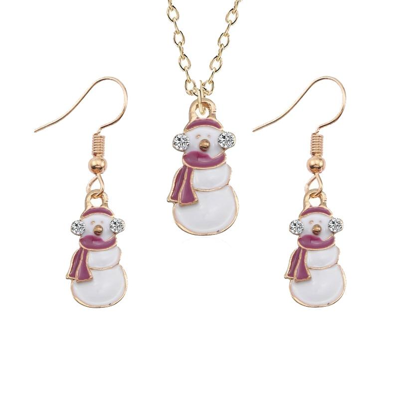 DIY muñeco de nieve colgante collar pendiente conjunto blanco con diamante de imitación gota aceite navidad niños cadena de oro regalos de Navidad de moda