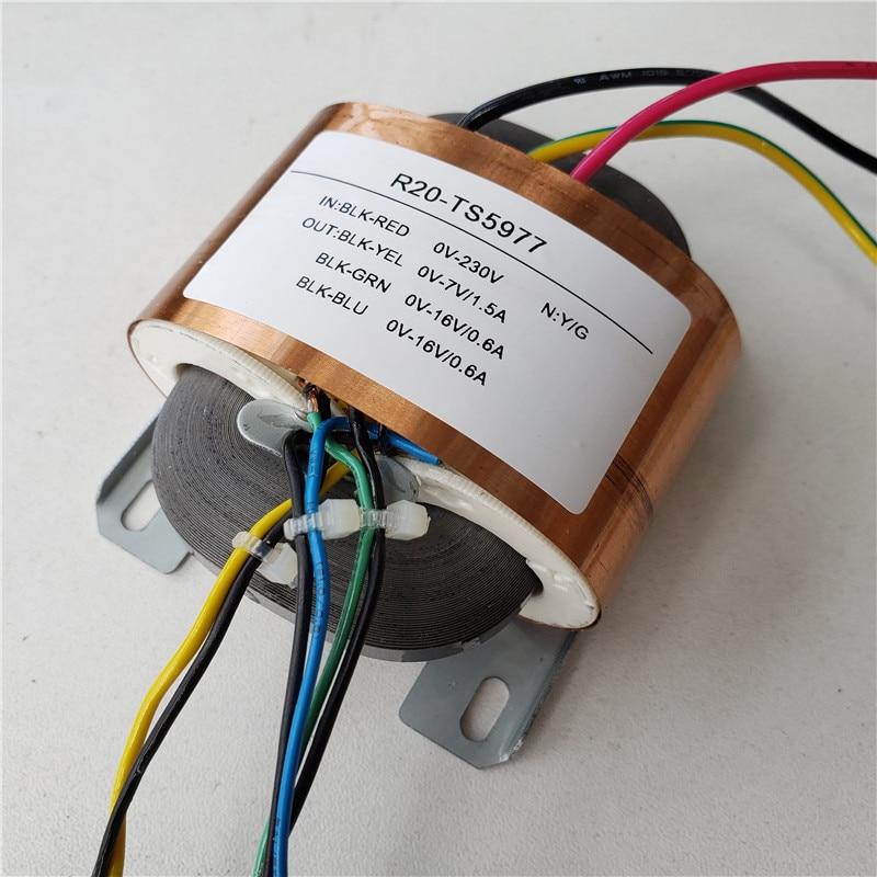 16V 0.6A 7V 1.5A трансформатор R Core R20 пользовательский Трансформатор 230V вход 30VA медный