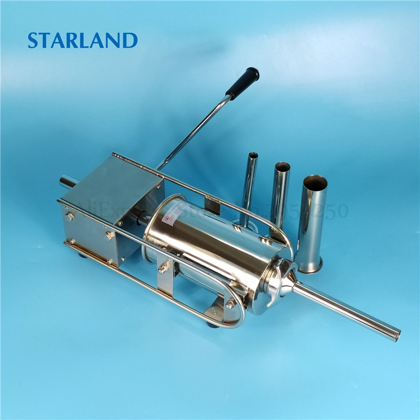 2L Spain Churros Making Machine Stainless Steel Manual Sausage Stuffer Horizontal Churro Extruding Machine Sausage Filler hot sale popular 5l commercial spanish churro maker machine with 6l fryer maker churros making machine with ce in high quqlity