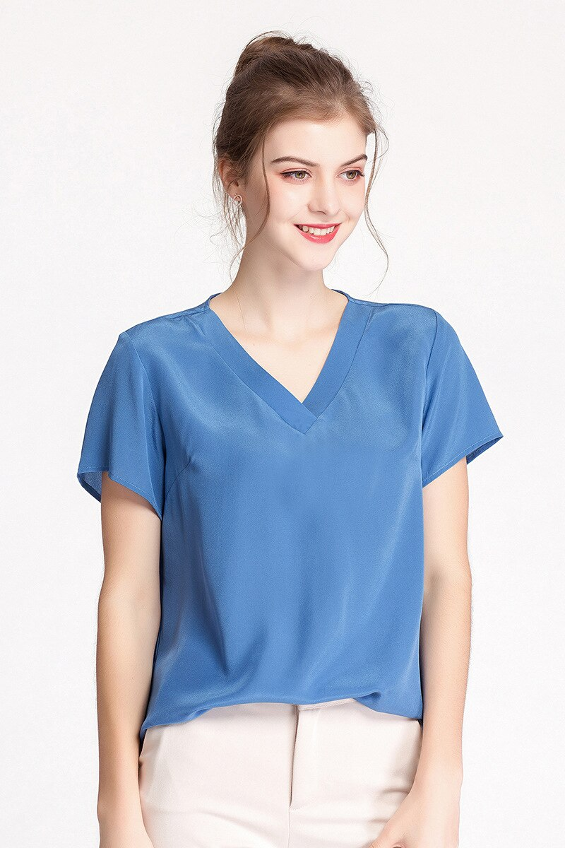 Heavy weight Silk Shirt Female V-neck Short-Sleeved 2020 Summer New Silk Simple Loose Slimming Crepe-De-Chine T-shirt