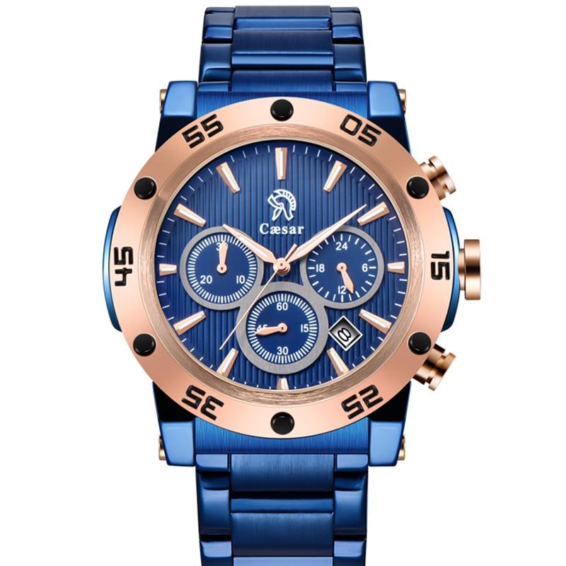 Caesar Rose oro hombres cuarzo negro cronógrafo hombre impermeable esqueleto de lujo para hombre relojes Relogio Masculino reloj de pulsera hombres