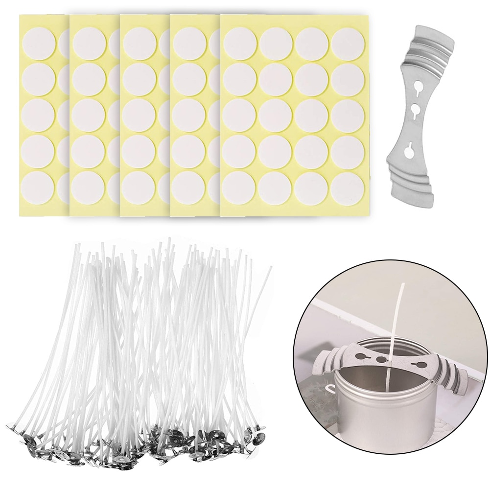 200PCS Candle Wicks Cotton Candle Making Wicks DIY Flat Waxed Wicks Kit Craft Tools With Wick Holder DIY Candle Making For Home