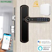 RAYKUBE Fingerprint Door Lock Smart Bluetooth TT Lock With Gateway Wifi Remotely Unlock Alexa Google Assistant Home Security