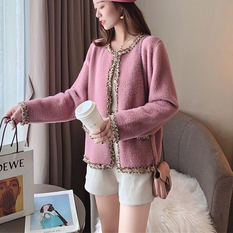 Winter Elegant Fashion Female Solid All-match Imitation Mink Velvet Jacket Loose Thick O-Neck Single Breasted Office Lady Tops enlarge