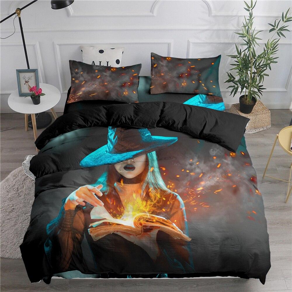طقم سرير ساحر هالوين المنسوجات المنزلية للتخصيص لتقوم بها بنفسك غرفة نوم مع المخدة حاف الغطاء 3 قطعة الملك واحد الحجم الكامل