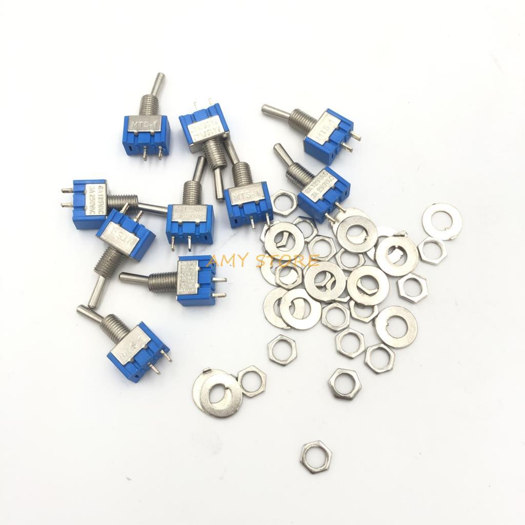 1000 قطعة MTS-101 2 دبوس SPST التبديل على الخروج 2 موقف AC125V/6A 250V/3A 6 مللي متر الأزرق البسيطة تبديل مفاتيح