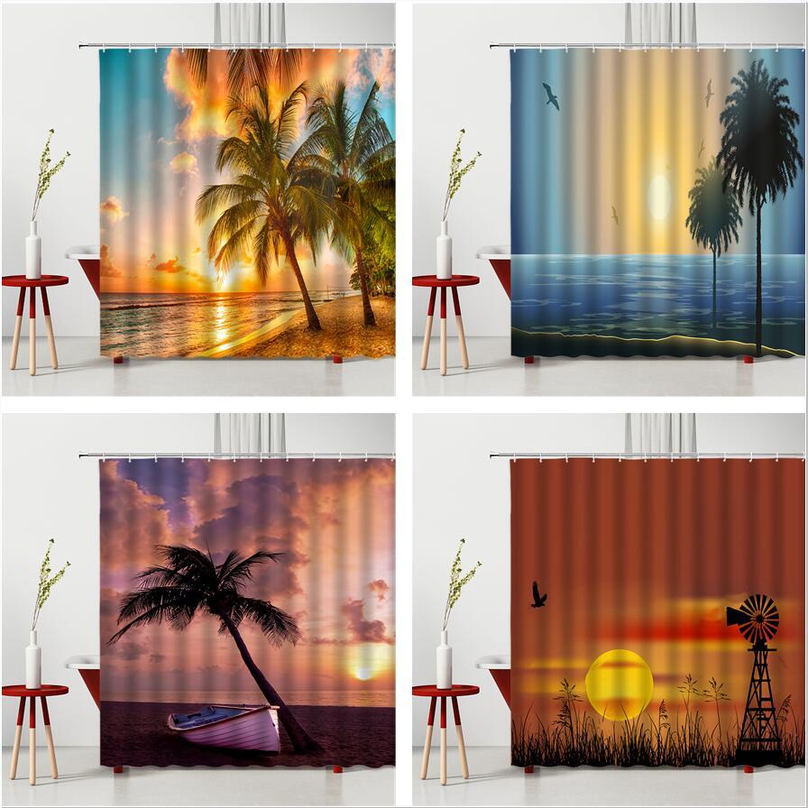 Sunset Seaside Scenery Shower Curtain Tropical Coconut Tree Landscape Windmill Home Bath Decor Hanging Cloth Bathroom Curtains