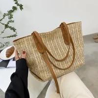 womens large capacity straw beach bag handmade woven shoulder bag women rattan shopping bag bohemian summer casual tote