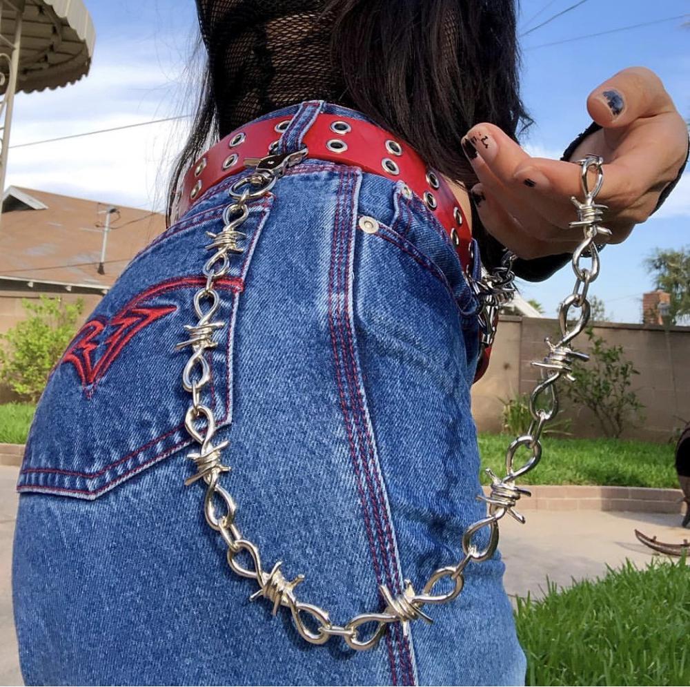 Rock punk metal espinas hierro pantalones cadena cartera cadena plata HipHop Punk gancho Biker Pantalones Pantalón cintura enlace collar pulsera
