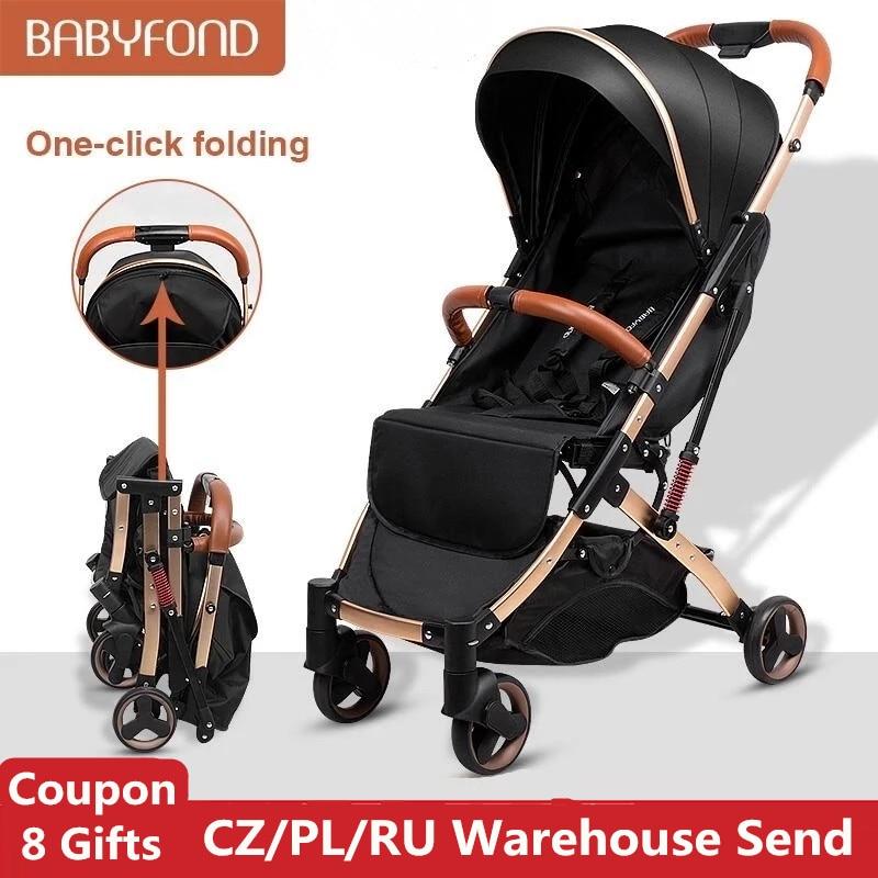 Babyfond 5.8KG Light Stroller Gold Frame Car Portable Carriage Umbrella Children Wagon Newborn Trave