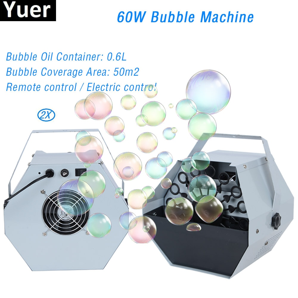 2Pcs/Lot 60W Bubble Machine Automatic Bubble Machine With High Output Remote Control For Wedding DJ Party Club Bar Stage Effect