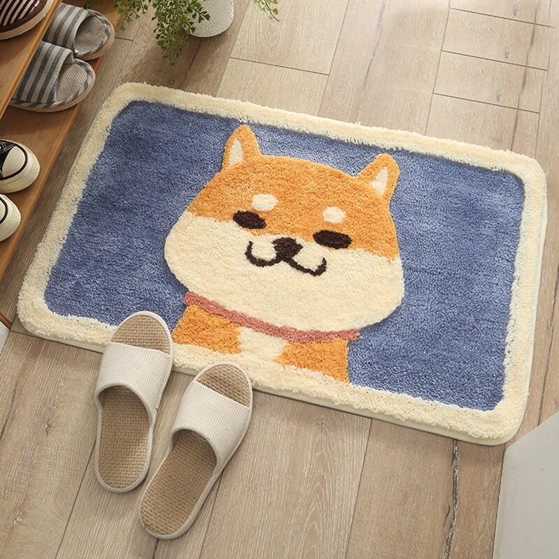 Alfombra de perro Akita japonesa de dibujos animados, alfombra con efecto flocado, alfombrillas para el hogar, puerta de baño, alfombrillas absorbentes lavables