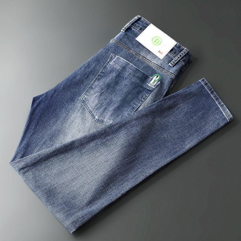 2021 stretch jeans men straight men light jeans men slim Joker trend embroidered long pants men