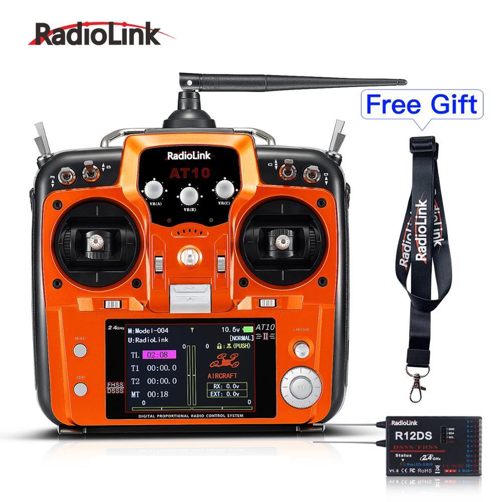 Radiolink AT10II 12CH RC transmisor y receptor R12DS 2,4 GHz DSSS & FHSS Radio control remoto para Drone RC/ala fija