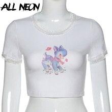 ALLNeon E-kız yaz karikatür grafik ön Ctopped t-shirt Kawaii o-boyun kısa kollu dantel fırfır beyaz üstleri Y2K sevimli Tee