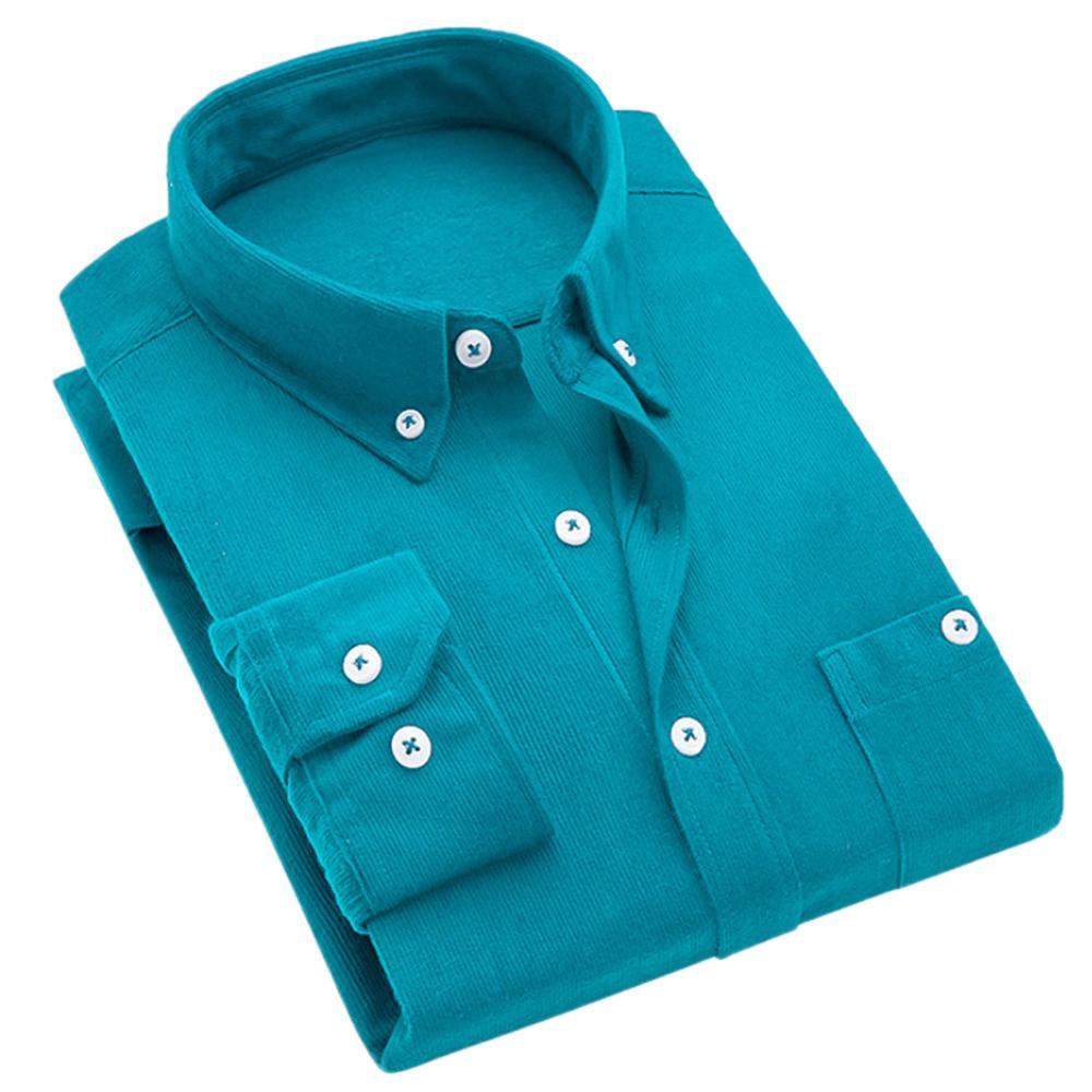 Men Vintage Turn Down Collar Corduroy Buttons Plus Size Business Slim Shirt