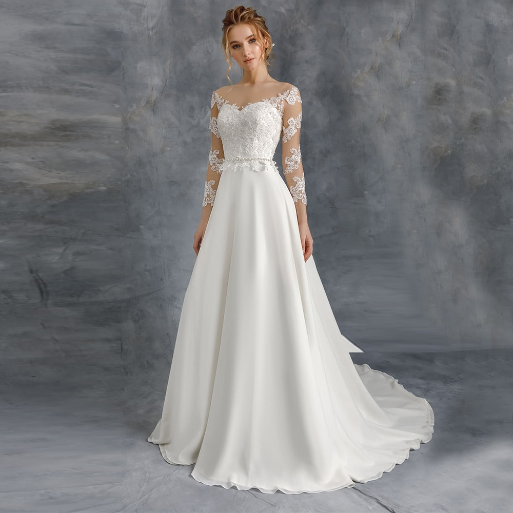 Get Elegant Long Sleeves Illusion Chiffon And Satin Wedding Dresses Off Shoulder Sweep Train Bridal Party Gown For Bride Vestidos