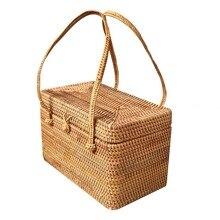 Autumn rattan weaving storage box gift picnic basket Puer tea cake dustproof Multifunctional storage bin tea container caddy