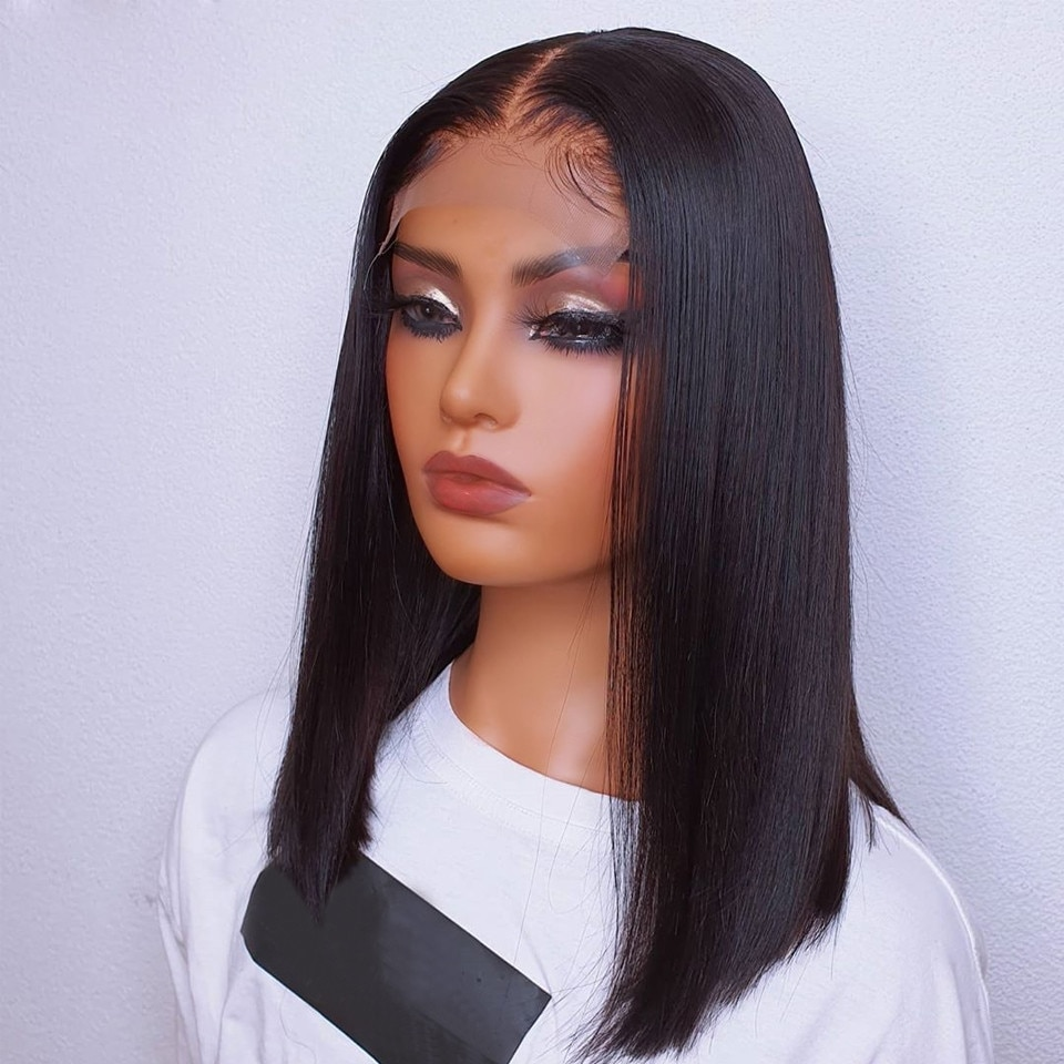Silky Straight Lace Front Wig Synthetic Natural Black For Black Women Cosplay Glueless Long Heat Resistant Daily Wig Baby Hair