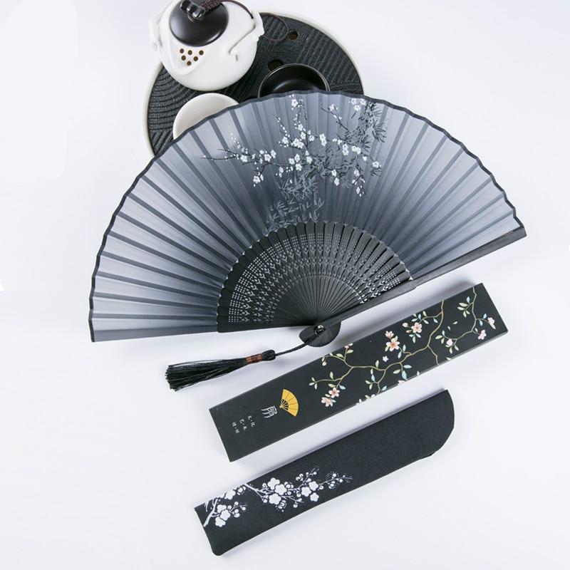 Vintage mano chino Cosplay Hanfu de baile ventilador portátil encantadora Abanicos Para...