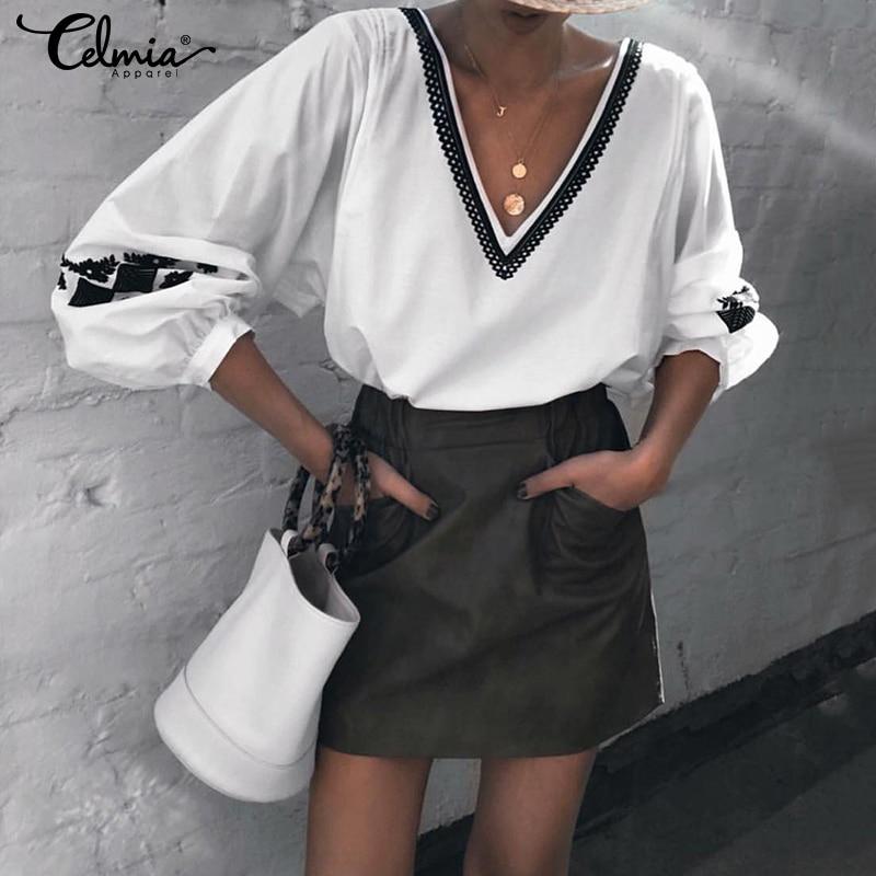 Модные топы 2020, женские сексуальные рубашки с глубоким v-образным вырезом, повседневные рубашки с длинным рукавом-фонариком, винтажные блуз...