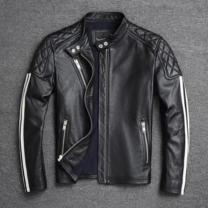 سترة حقيقية 2021Men's جلد البقر سترات من الجلد سليم صالح الذكور الربيع الملابس معطف دراجة نارية سترة دراجة نارية الملابس