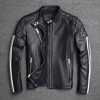 Jacket Genuine 2021Men\'s Cowhide Leather Jackets Slim Fit Male Spring Clothing Coat Motorcycle Jacket Motorcycle Clothing