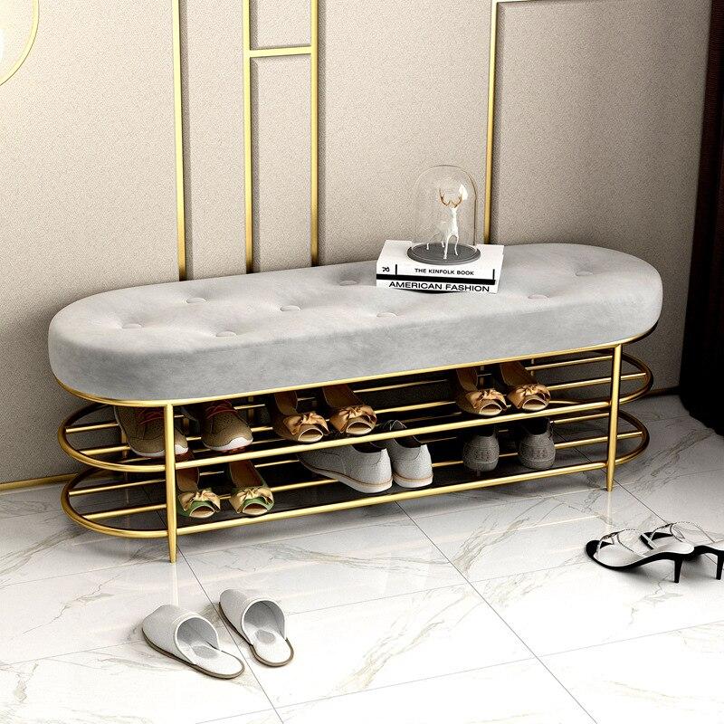 Ferro nórdico luz de luxo tecido sapato armário sapato em mudança fezes alta temperatura cozimento pintura armazenamento doméstico macio saco amortecido