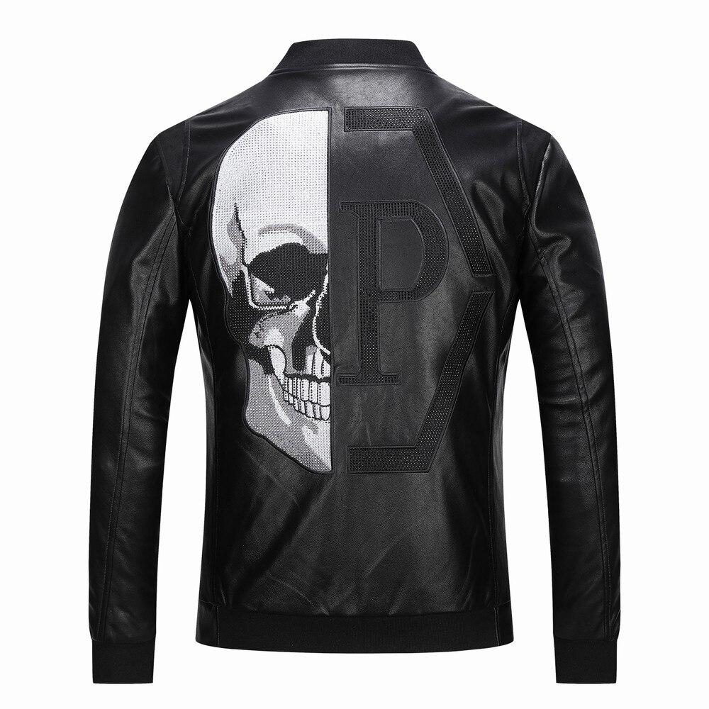 2019 Skull Rhinestones PU chaquetas hombres negro calle alta de pie-Cuello cremallera Rib manga Streetwear motocicleta Faux cuero abrigos