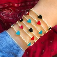 new arrived cute lovely enamel heart charm cz tennis chain bracelet bangle for lover women fashion jewelry 154cm extend chain