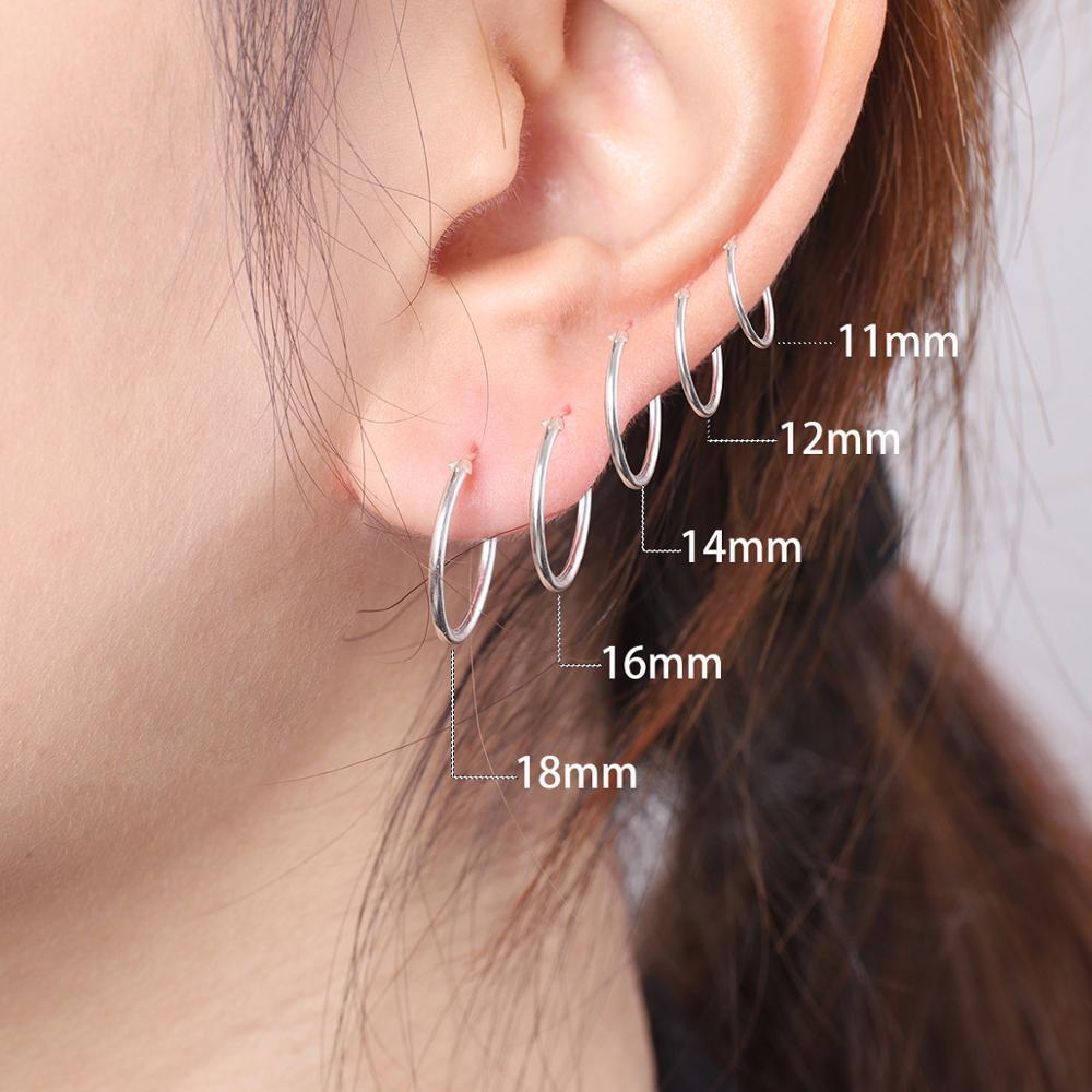 High Quality 1 Pair 6-18mm Small Hoop Earrings Silver Color Circle Hoop Earring for Women Men Ear Rings Clip Huggie Earrings