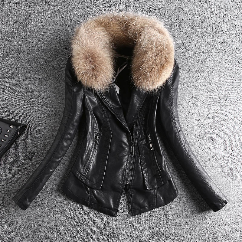Korean Style Pu Leather Jacket Women 2021 New Long-Sleeved Slim Slimming Motorcycle Leather Jacket Female Tide Zipper Pocket B28