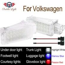 2x LED Car Interior Footwell Courtesy Lamp light for Volkswagen Golf 4/5/6 Audi A3 S3 A4 S4 A5 S5 A6 S6 C5 C6 A7 A8 S8 Q5 Q7 TT