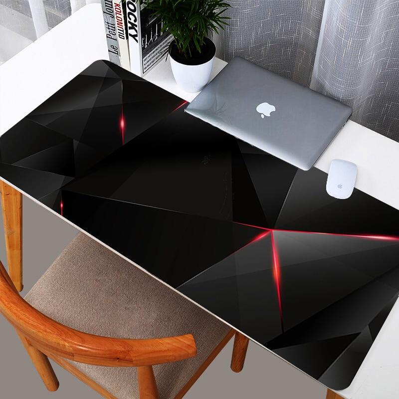 Tapete de Rato Decoração do Escritório Tapete de Mesa Grande Estendido Mousepad Gaming Mouse Pad Tamanho Preto Vermelho Geométrico Design Customizável