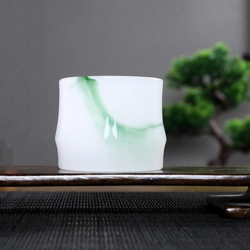 60ml Green Jade Porcelain Tea Bowl Jingdezhen Tea Cup Wine Cups Master Teacup Chinese Kung Fu Teaware Puer Teacups Decoration