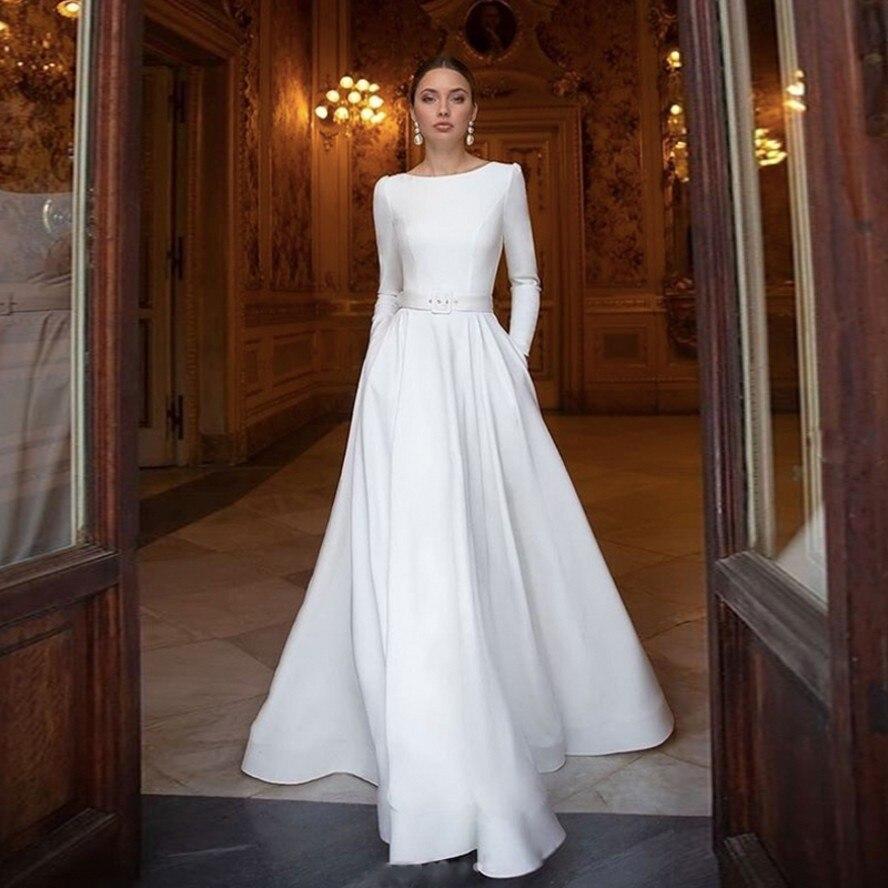 Vestidos متواضع أبيض نقي رقبة قارب كم طويل فساتين حفلات سهرة مع وشاحات طول الأرض فستان ماكسي مناسبة خاصة فساتين