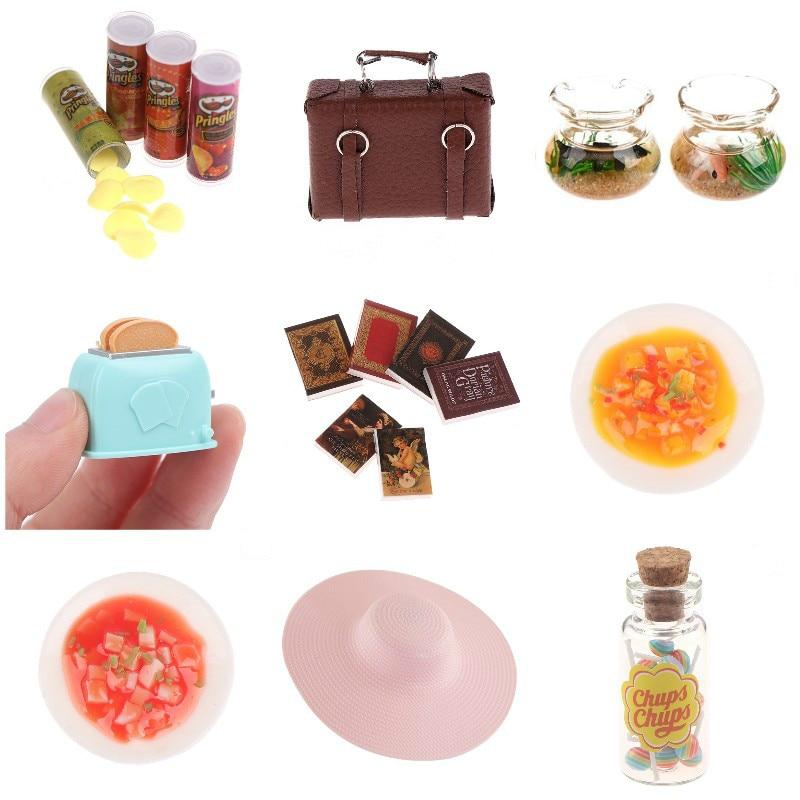 Мебель для кукольного домика, аксессуары для украшения кукольного домика, мини-модель телефона, аквариум, картофельные чипсы, маленькая бан...