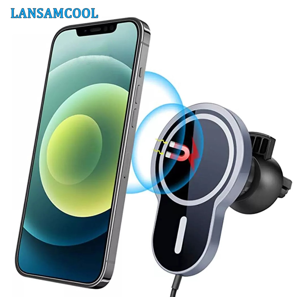 Magnetic Wireless Car Charger For Iphone 12 Pro Max Qi Fast Wireless Car Charger For Magsafe iPhone Holder