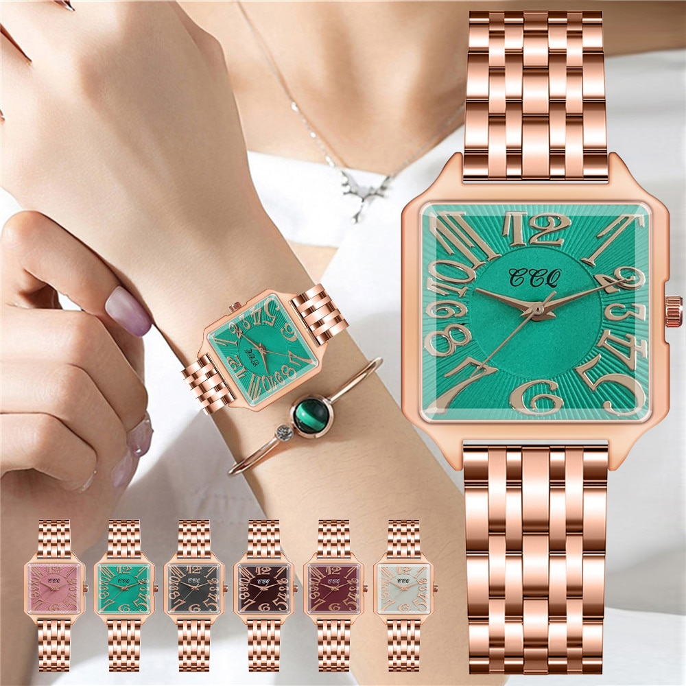 Women Square Rose Gold Stainless Steel Watch Luxury Fashion Arabic Numbers Watches for Gift Clock Re